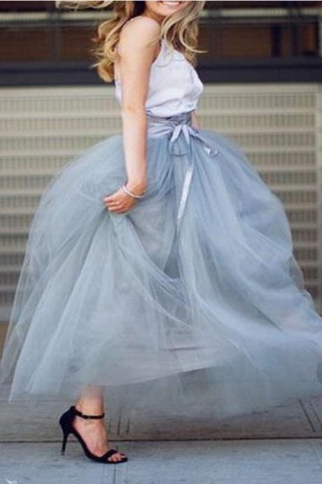 6 Layers Tulle Skirt Summer Maxi Long Muslim Skirt Womens Elastic Waist Lolita Tutu Skirts gray