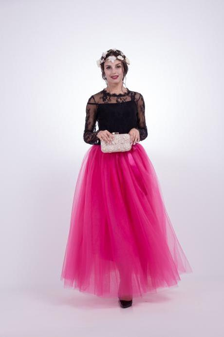 6 Layers Tulle Skirt Summer Maxi Long Muslim Skirt Womens Elastic Waist Lolita Tutu Skirts hot pink