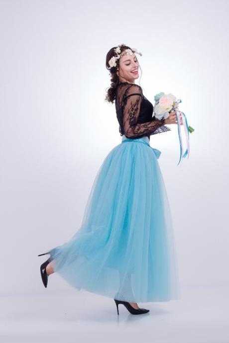 6 Layers Tulle Skirt Summer Maxi Long Muslim Skirt Womens Elastic Waist Lolita Tutu Skirts sky blue