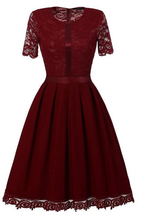 Vintage Lace Patchwork Dress Elegant Rockabilly Cocktail Party Short Sleeve A Line Swing Dress burgundy