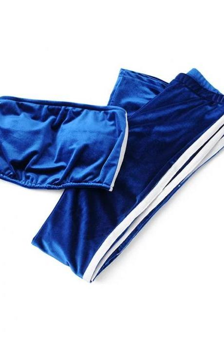 Women Velvet Strapless+Long Flare Pants Suit Striped Trousers Two Pieces Tracksuit royal blue