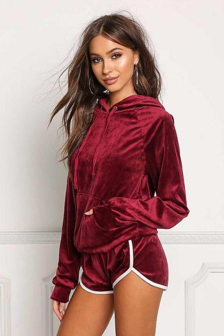 Spring Autumn Women Tracksuits Casual Long Sleeve Hooded Sweatshirt+Shorts Two Piece Sets Sportswears burgundy
