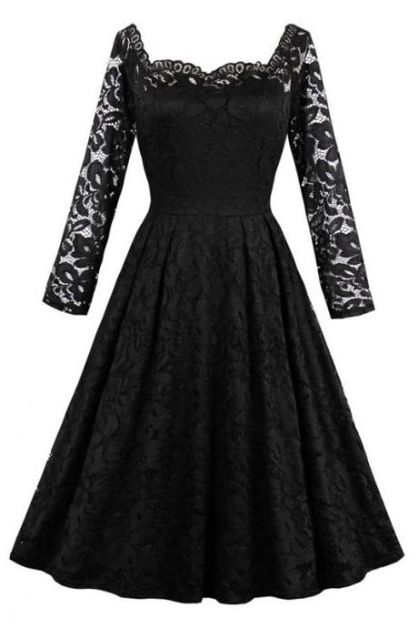 Vintage Floral Lace Dress Off Shoulder Long Sleeve A Line Women Office Work Party Dress black
