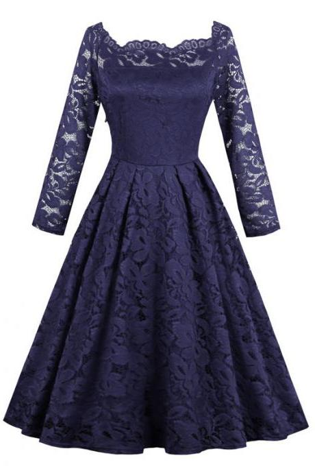 Vintage Floral Lace Dress Off Shoulder Long Sleeve A Line Women Office Work Party Dress navy blue
