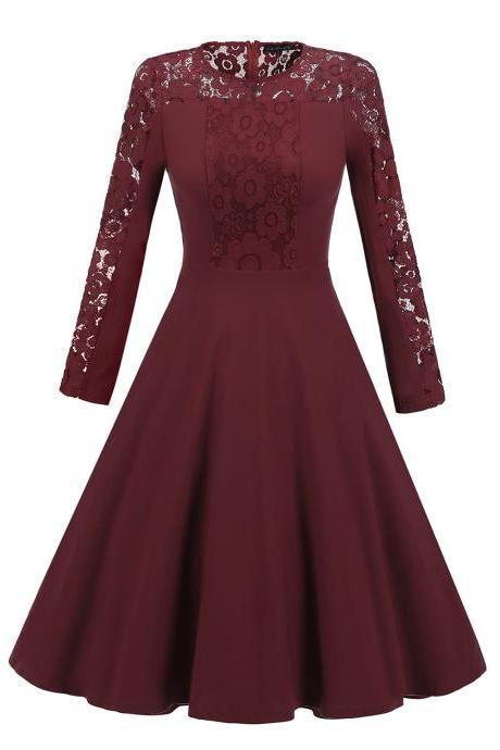 Vintage Long Sleeve Autumn Dress Floral Lace Patchwork Women Cocktail Party A Line Swing Dress burgundy
