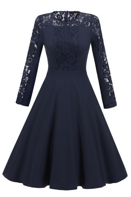 Vintage Long Sleeve Autumn Dress Floral Lace Patchwork Women Cocktail Party A Line Swing Dress navy blue