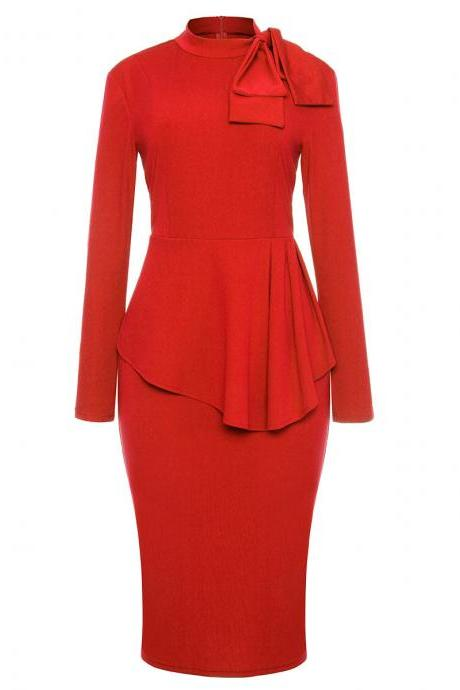 Bow High Neck Peplum Party Dress Long Sleeve Sheath Work Office Bodycon Pencil Dress red