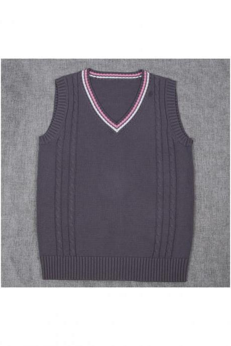 Japanese School Uniform Knitted Vest Women V-Neck Sleeveless Sweater JK Students Pullover gray