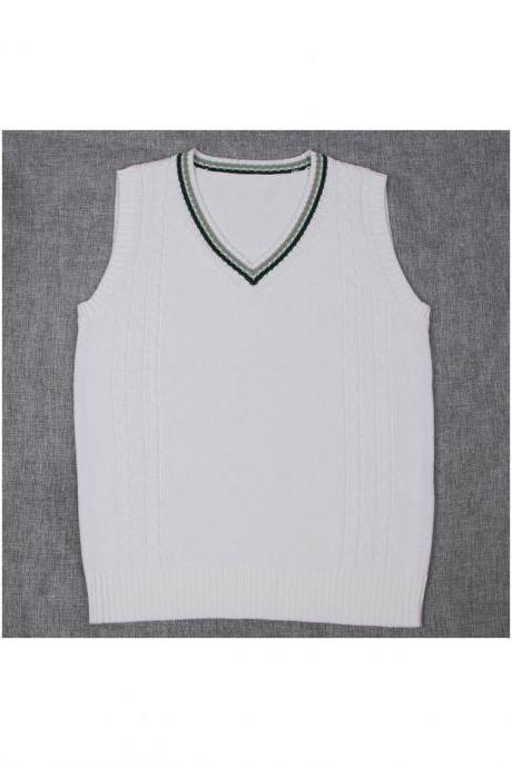 Japanese School Uniform Knitted Vest Women V-Neck Sleeveless Sweater JK Students Pullover off white+hunter green