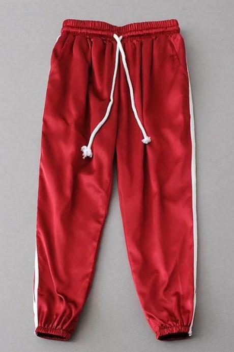 Sweatpants Women Sport Pants Joggers Casual Harlan Yoga Gym Side Striped Drawstring High Waist Lady Femme Trousers red