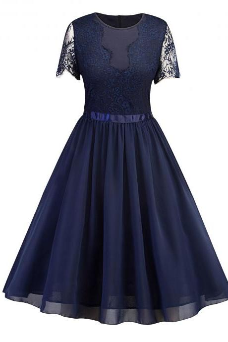 Vintage Lace Patchwork Chiffon Dress Women Short Sleeve Summer Evening Work Party Swing Dress navy blue
