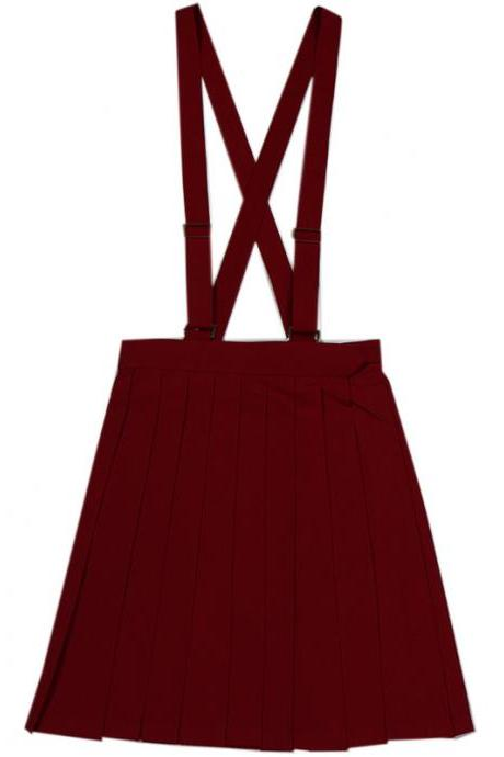 Japanese School Uniform Braces Skirt Girls Solid Pleated JK Suspender Jumper Skirt Cosplay Costume burgundy
