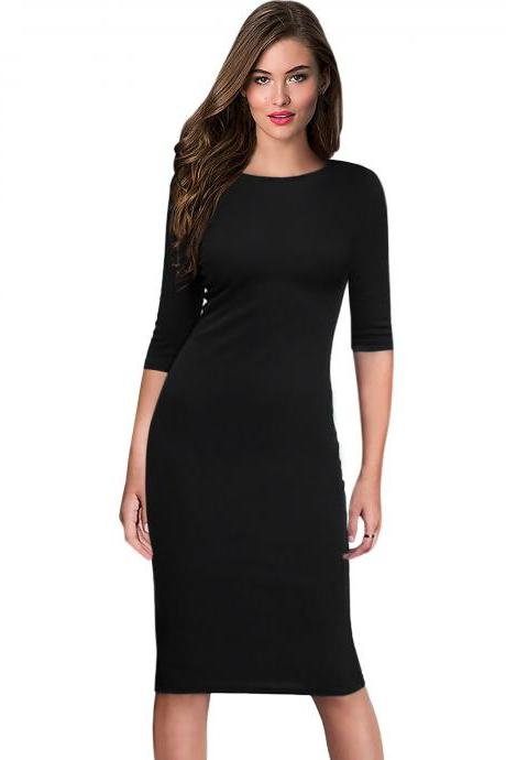 Women Office Work Dress Half Sleeve Simple Slim Knee Length Sheath Bodycon Pencil Dress black