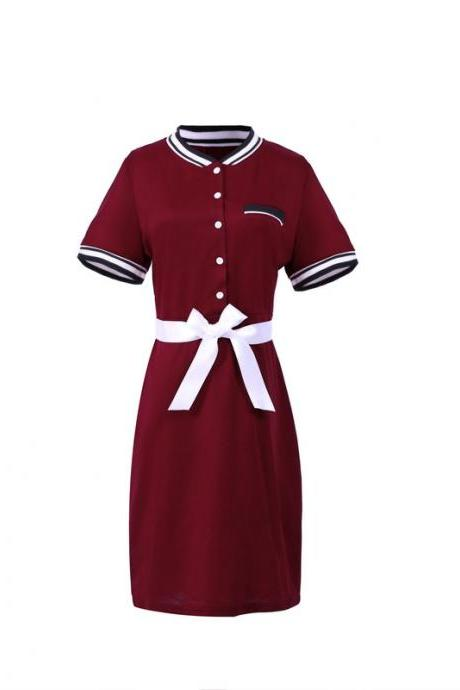 Plus Size Polo Shirt Dress Women Short Sleeve Bodycon Work Office Pencil Party Dress burgundy