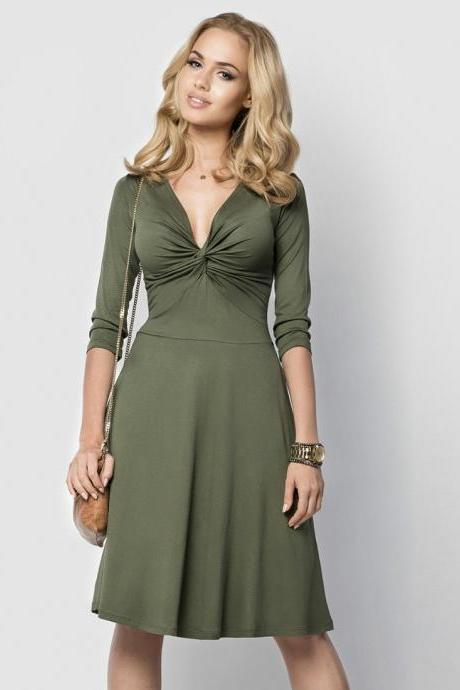 Sexy Deep V Neck Work Office Dress 3/4 Sleeve Women A Line Business Cocktail Party Dress army green