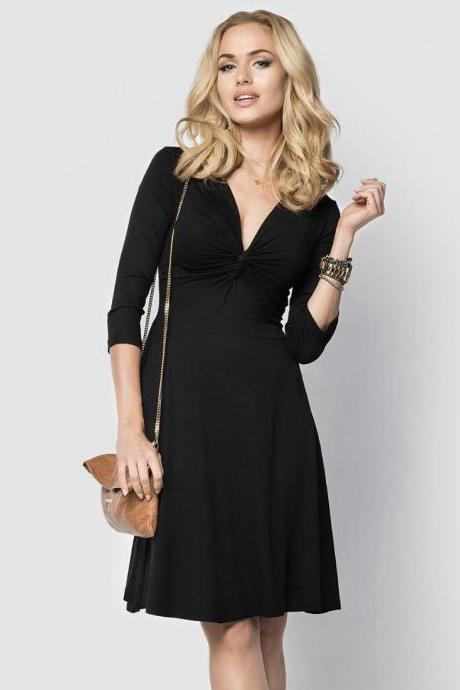 Sexy Deep V Neck Work Office Dress 3/4 Sleeve Women A Line Business Cocktail Party Dress black