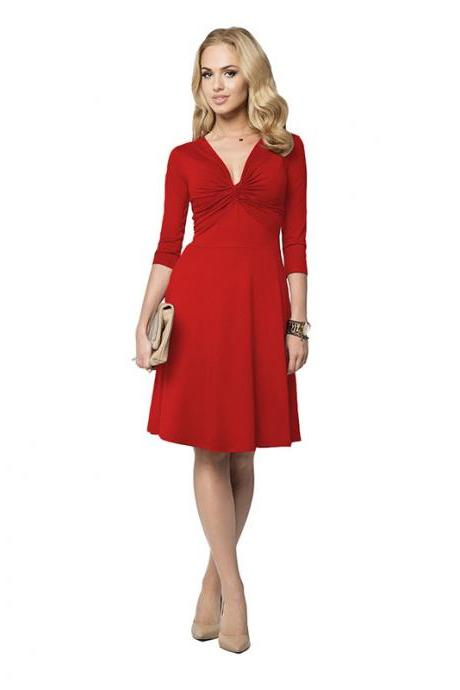 Sexy Deep V Neck Work Office Dress 3/4 Sleeve Women A Line Business Cocktail Party Dress red