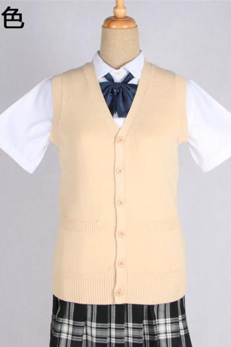 Japanese JK Uniform Cardigans Vest Cosplay Student Cotton V Neck Sleeveless Sweater apricot