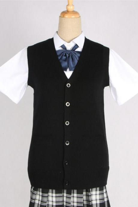 Japanese JK Uniform Cardigans Vest Cosplay Student Cotton V Neck Sleeveless Sweater black