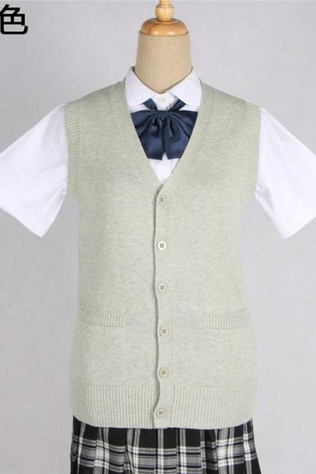 Japanese JK Uniform Cardigans Vest Cosplay Student Cotton V Neck Sleeveless Sweater gray