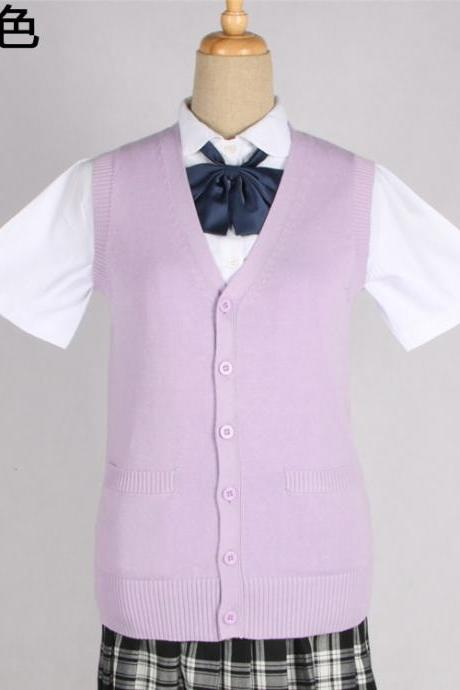 Japanese JK Uniform Cardigans Vest Cosplay Student Cotton V Neck Sleeveless Sweater lilac