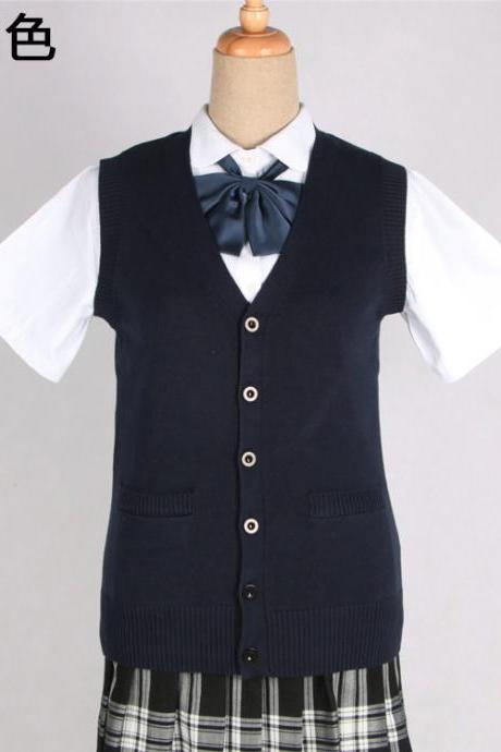 Japanese JK Uniform Cardigans Vest Cosplay Student Cotton V Neck Sleeveless Sweater navy blue