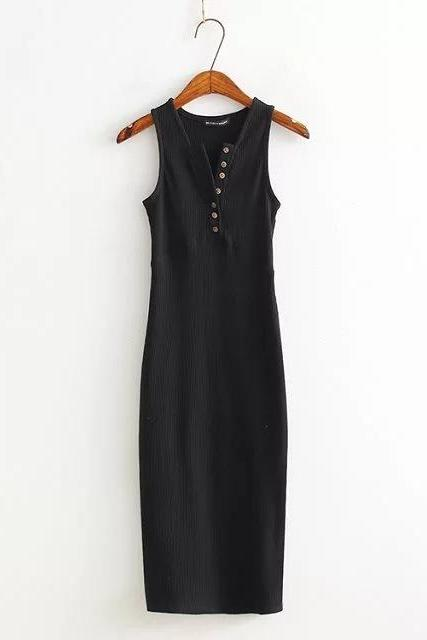 Black Button Front Sleeveless Bodycon Dress, Party Dress