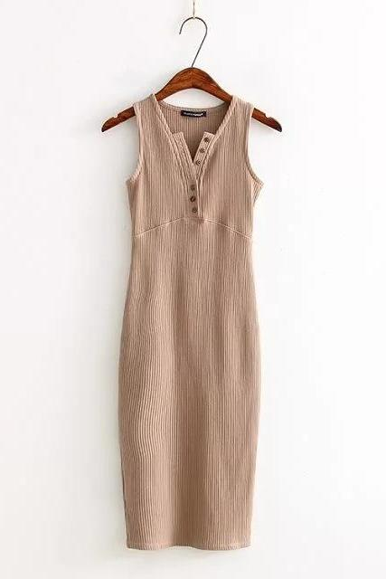 Women Summer Bodycon Dress Sleeveless V-Neck Buttons Slim High Split Club Party Dress camel