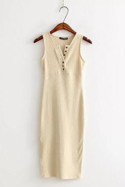 Women Summer Bodycon Dress Sleeveless V-Neck Buttons Slim High Split Club Party Dress cream