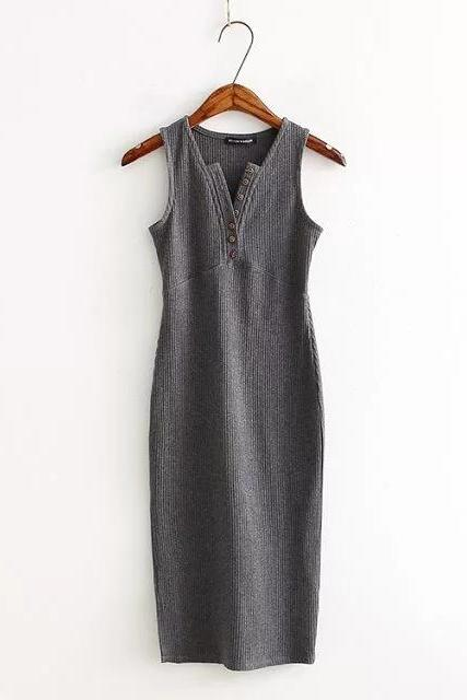 Women Summer Bodycon Dress Sleeveless V-Neck Buttons Slim High Split Club Party Dress gray