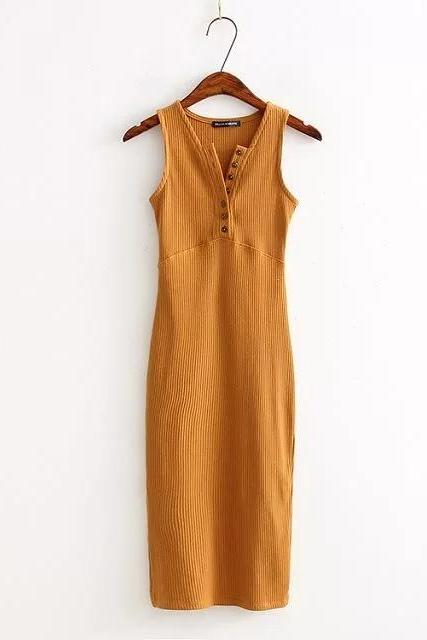 Women Summer Bodycon Dress Sleeveless V-Neck Buttons Slim High Split Club Party Dress orange