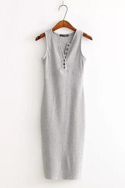 Women Summer Bodycon Dress Sleeveless V-Neck Buttons Slim High Split Club Party Dress silver