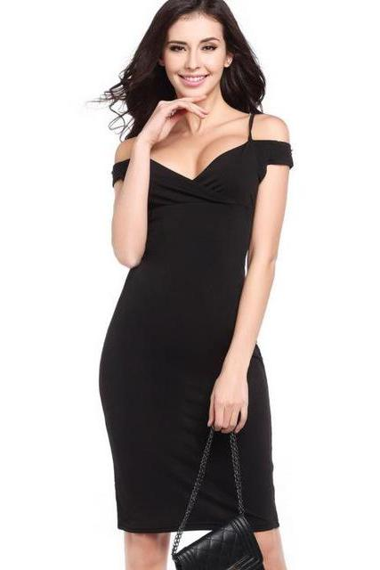 Black Off-The-Shoulder Plunge V Knee Length Bodycon Dress, Little Black Dress