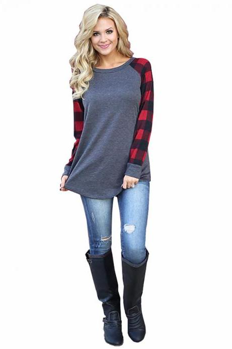 Plus Size Women T-Shirt Plaid Raglan Long Sleeve Patchwork O-Neck Baseball Tops Pullover red