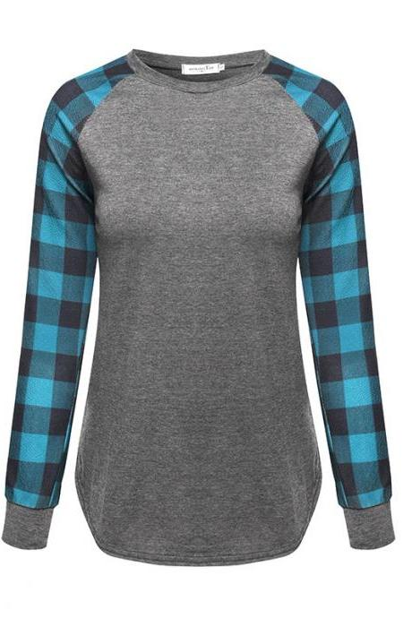 Plus Size Women T-Shirt Plaid Raglan Long Sleeve Patchwork O-Neck Baseball Tops Pullover green