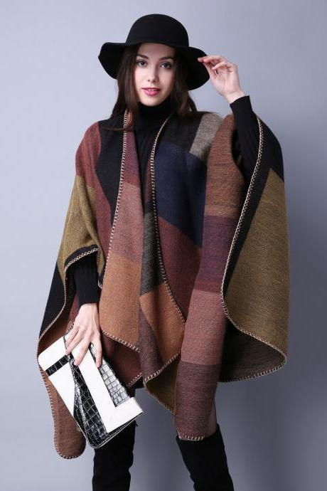 Women Lady Faux Cashmere Scarf Plaid Poncho Cape Floral Wrap Shawl Blanket Cloak 1#
