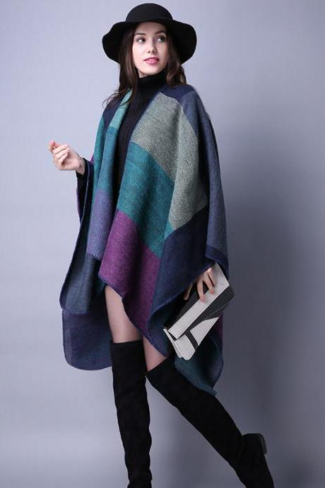 Women Lady Faux Cashmere Scarf Plaid Poncho Cape Floral Wrap Shawl Blanket Cloak 3#