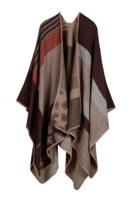 Women Lady Faux Cashmere Scarf Plaid Poncho Cape Floral Wrap Shawl Blanket Cloak 6#