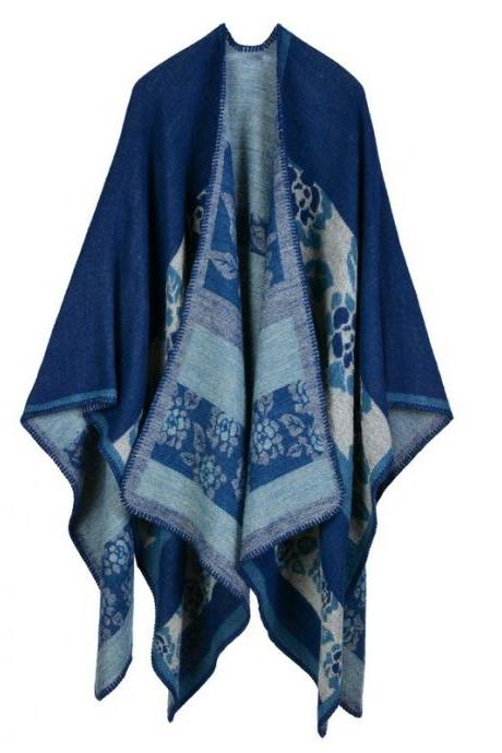 Women Lady Faux Cashmere Scarf Plaid Poncho Cape Floral Wrap Shawl Blanket Cloak 12#