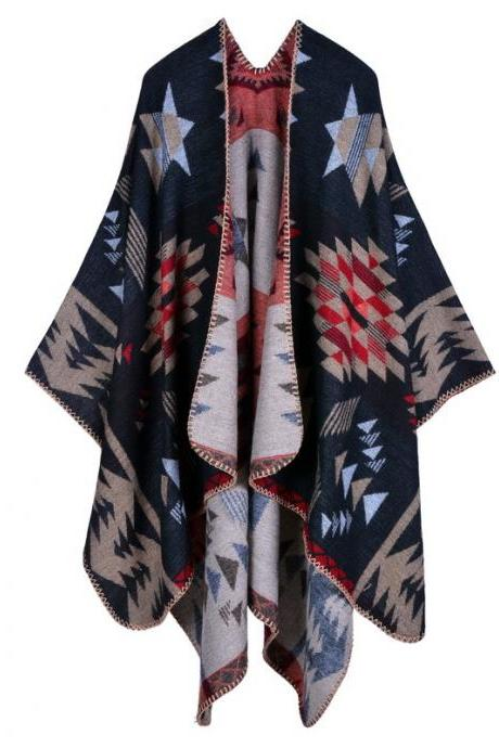 Women Lady Faux Cashmere Scarf Plaid Poncho Cape Floral Wrap Shawl Blanket Cloak 14#
