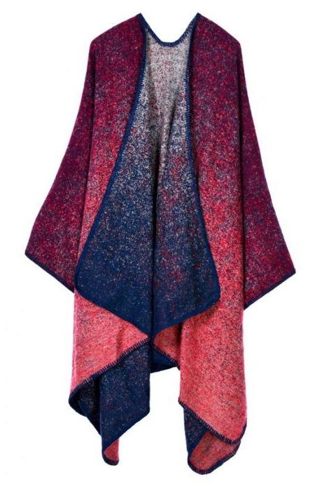 Women Lady Faux Cashmere Scarf Plaid Poncho Cape Floral Wrap Shawl Blanket Cloak 15#
