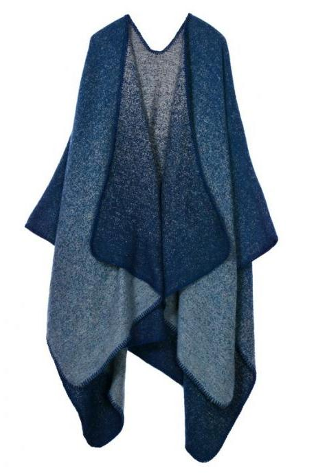 Women Lady Faux Cashmere Scarf Plaid Poncho Cape Floral Wrap Shawl Blanket Cloak 16#