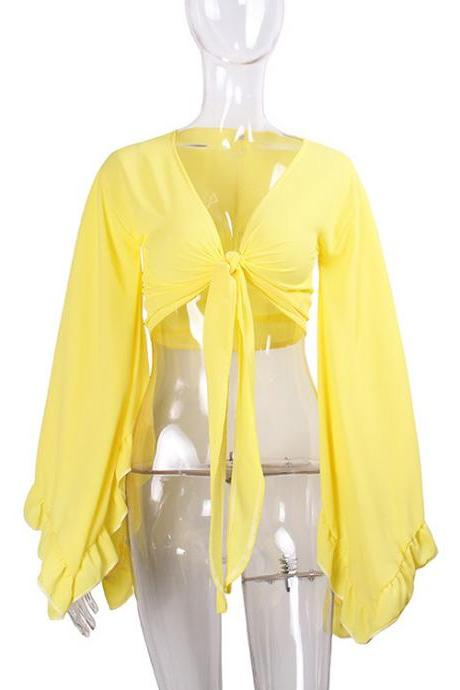 Sexy V Neck Bow Tie Short Cross Tops Women Summer Chiffon Long Sleeve Cropped Tee Shirt yellow