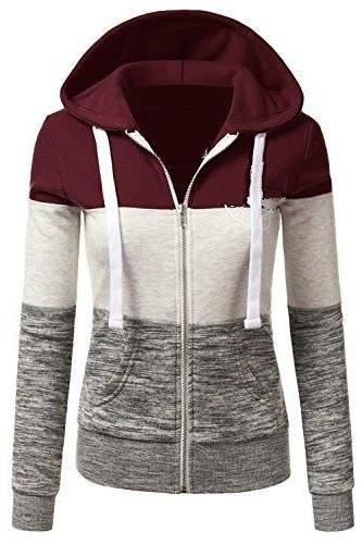 Spring Autumn Women Sweatshirt Coat Casual Zipper Contrast Color Hooded Jacket Outerwear 1#