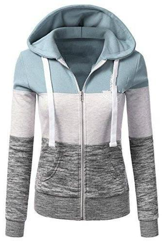 Spring Autumn Women Sweatshirt Coat Casual Zipper Contrast Color Hooded Jacket Outerwear 2#