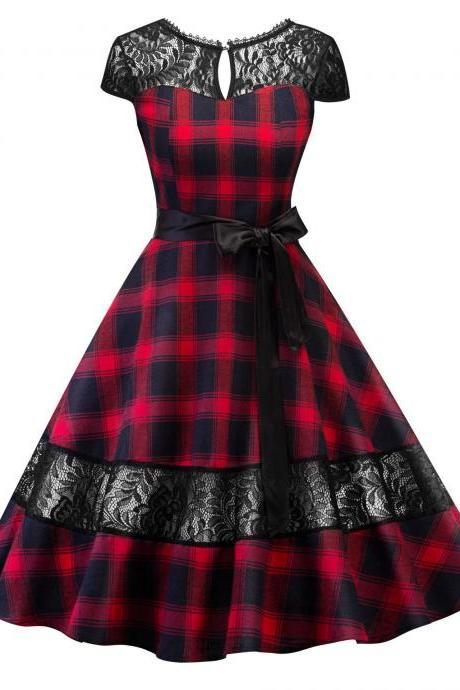 Vintage Plaid Lace Patchwork Dress Women Cap Sleeve Belted A Line Cocktail Work Party Dress red