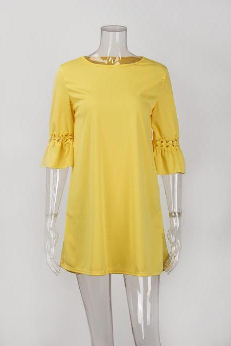 Yellow Round Neck Casual Summer Shift Dress with Hollow Out 3/4 Sleeves