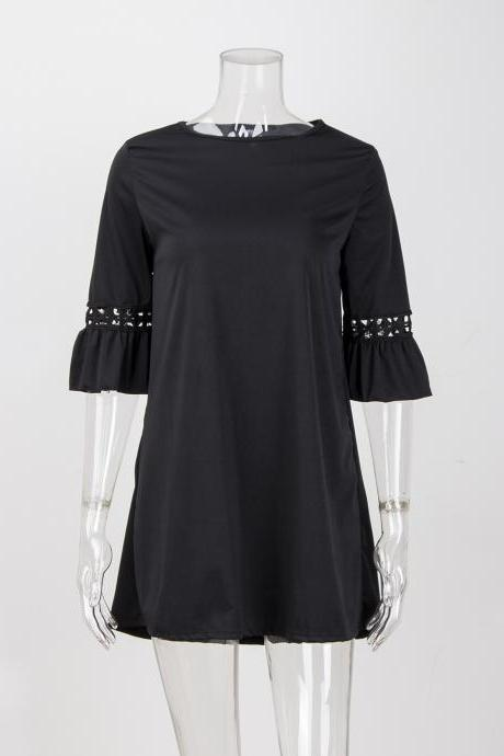 Women Summer Casual Dress Flare 3/4 Sleeve Lace Patchwork O Neck Holiday Party Dress black