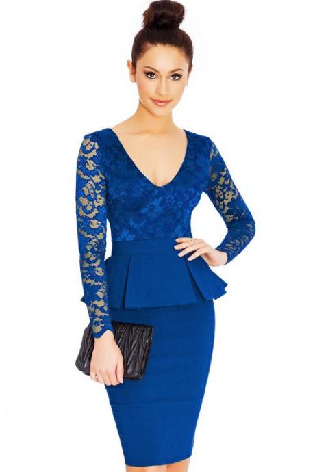 Women Lace Long Sleeve Work Dress V Neck Bodycon Office Business Peplum Party Pencil Dress royal blue