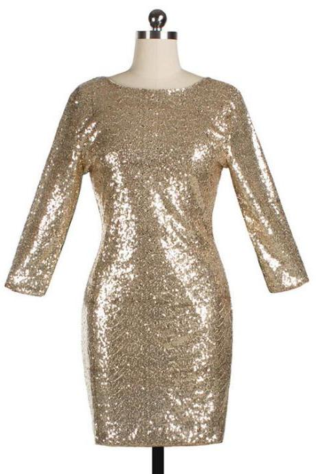 Women Mini Sequined Dress O Neck 3/4 Sleeve Bodycon Slim Pencil Party Club Dress gold